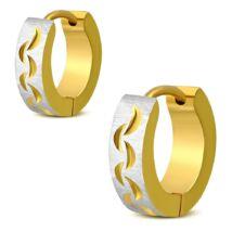 Arany és ezüst színű, mintás nemesacél fülbevaló