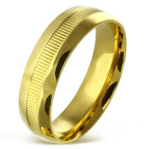 Arany színű, barázdált nemesacél gyűrű ékszer