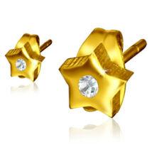 Arany színű csillag alakú fülbevaló cirkónia kristállyal