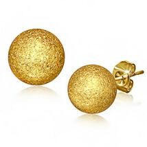 Arany színű, homokfújt gömb alakú nemesacél fülbevaló