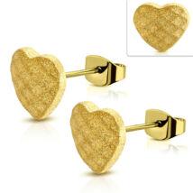 Arany színű, homokfúvott, szív alakú nemesacél fülbevaló