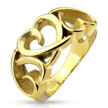 Arany színű, kivágott szív formájú nemesacél gyűrű-6