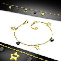 Arany színű nemesacél bokalánc, fekete cirkónia kristály dísszel