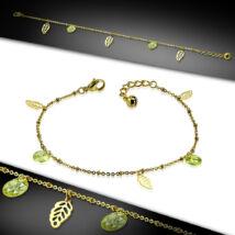 Arany színű nemesacél bokalánc, zöld cirkónia kristály dísszel