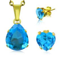 Arany színű nemesacél ékszerszett akvamarin, csepp alakú cirkónia kővel - nyaklánc és fülbevaló