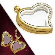 Arany színű, szív alakú nyitható medál, cirkónia kristállyal