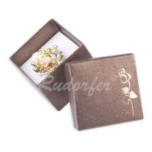 Barna színű elegáns díszdoboz, rózsa mintával (gyűrű, fülbevaló, szett, nyaklánc)
