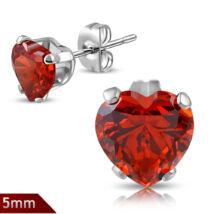 Cirkónia kristályos, szív alakú nemesacél fülbevaló ékszer