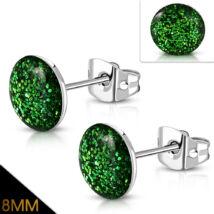 Erdő zöld színű, kristály mintás nemesacél fülbevaló