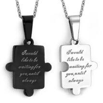 Ezüst és fekete színű, kétrészes puzzle alakú nemesacél medál
