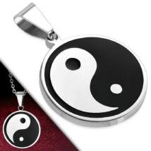 Ezüst és fekete színű, Yin-Yang mintás nemesacél  medál