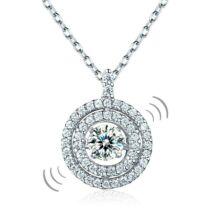 Ezüst nyaklánc,kör alakú táncoló szintetikus gyémánt medállal - 925 ezüst ékszer