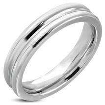 Ezüst színű, bordázott nemesacél gyűrű-6