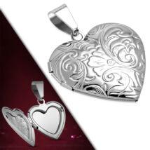 Ezüst színű, kinyitható szív alakú nemesacél medál