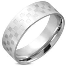 Ezüst színű, kocka mintás nemesacél gyűrű-7