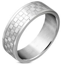 Ezüst színű, kocka mintás nemesacél gyűrű ékszer