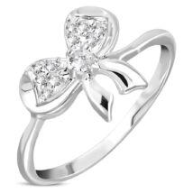 Ezüst színű, masni alakú gyűrű, cirkónia kristállyal-6