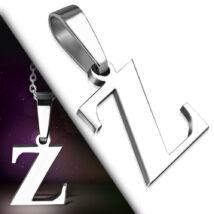 """Ezüst színű, nemesacél betű medál """"Z"""""""
