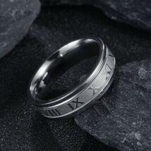 Ezüst színű nemesacél gyűrű, római számokkal-10