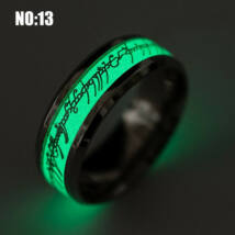 Ezüst színű nemesacél gyűrű, sötétben világító felirattal-9