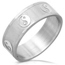 Ezüst színű, Yin-Yang nemesacél gyűrű-9