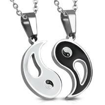 Fehér és fekete színű, Yin-Yang mintás nemesacél  medál