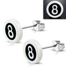 Fehér színű nemesacél fülbevaló, 8-as szám mintával