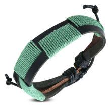 Fekete és zöld színű bőr karkötő