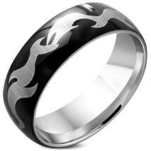 Fekete-ezüst színű nemesacél gyűrű ékszer