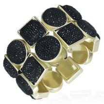 Fekete köves, dupla soros - rugalmas divatos karkötő