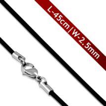 Fekete színű, kaucsuk vékony nyaklánc medálokhoz