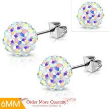 Gömb alakú Shamballa fülbevaló, crystal AB színű cirkónia kristállyal