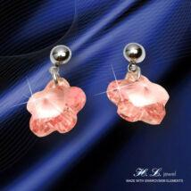H. L. Jewel Swarovski® kristályos ezüst fülbevaló - Virág rózsaszín