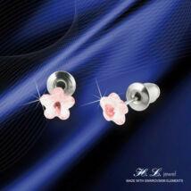 H. L. Jewel Swarovski® kristályos ezüst gyermek fülbevaló - Virág rózsaszín