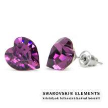 Jazzy lila Swarovski® kristályos fülbevaló - Nagy szív, Amethyst