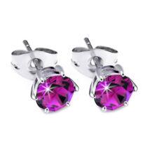 Jazzy sötét rózsaszín Swarovski® kristályos fülbevaló - Kerek Karmos Fuchsia