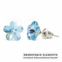 Jazzy világos kék Swarovski® kristályos fülbevaló - Virág Aquamarine