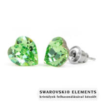 Jazzy zöld SWAROVSKI® kristályos fülbevaló - Szív Peridot