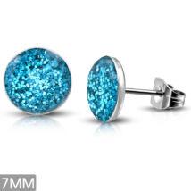 Kék kristály mintás, pont nemesacél fülbevaló ékszer
