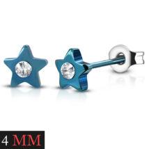 Kék színű, csillag alakú nemesacél fülbevaló, cirkónia kristállyal