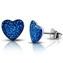 Kék, színű, szív alakú nemesacél fülbevaló ékszer