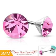 Mini Rose - Rózsaszín színű kristályos pont nemesacél fülbevaló ékszer