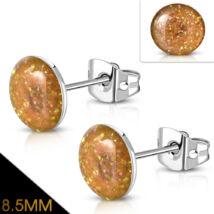 Narancs színű, kristály mintás nemesacél fülbevaló