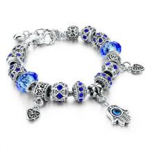 Pandora stílusú kristályos karkötő - kék