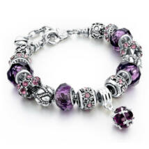 Pandora stílusú kristályos karkötő - Lila