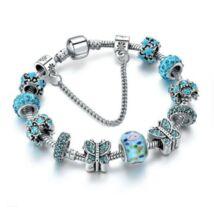 Pandora stílusú kristályos karkötő Pillangó charm-mal  - Világoskék