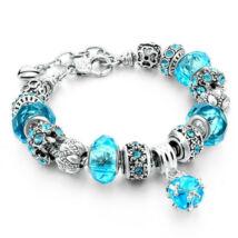 Pandora stílusú kristályos karkötő - Türkiz