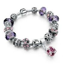 Pandora stílusú kristályos - Lila