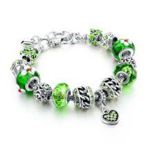 Pandora stílusú szives kristályos karkötő - Zöld