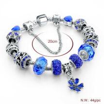 Pandora stílusú virág kristályos karkötő - Sötét kék